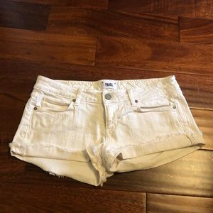 White denim Paige shorts